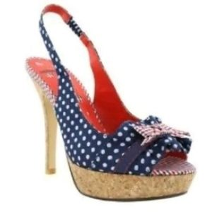 Not Rated Red White Blue Peep Toe Heels Size 7.5